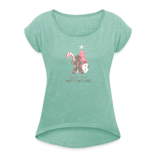 Gingerbread Xmas - Women's T-Shirt with rolled up sleeves