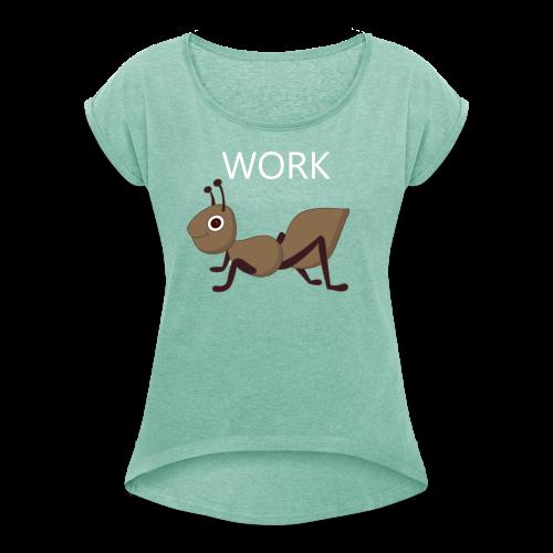 Ant Collection - T-skjorte med rulleermer for kvinner