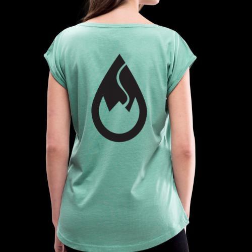 WSC-Logo schwarz - Frauen T-Shirt mit gerollten Ärmeln