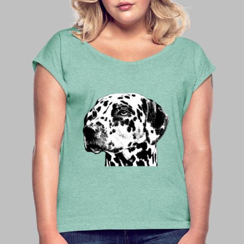Dalmatiner Kopf Hund - Frauen T-Shirt mit gerollten Ärmeln