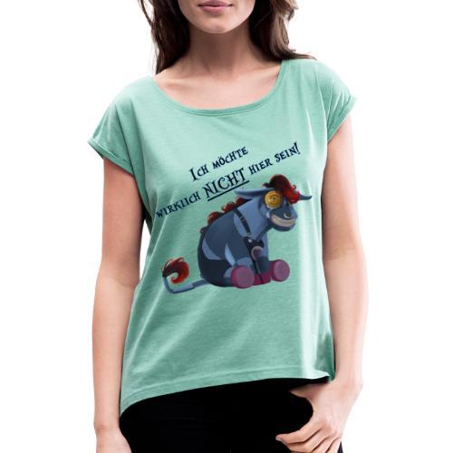 Emo Esel - Frauen T-Shirt mit gerollten Ärmeln