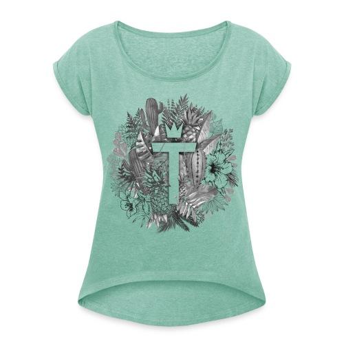 TeeshMjt png - T-shirt à manches retroussées Femme