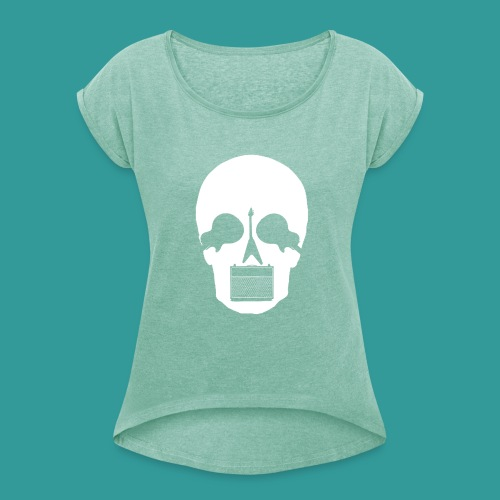 Guitar Skull - Women's T-Shirt with rolled up sleeves