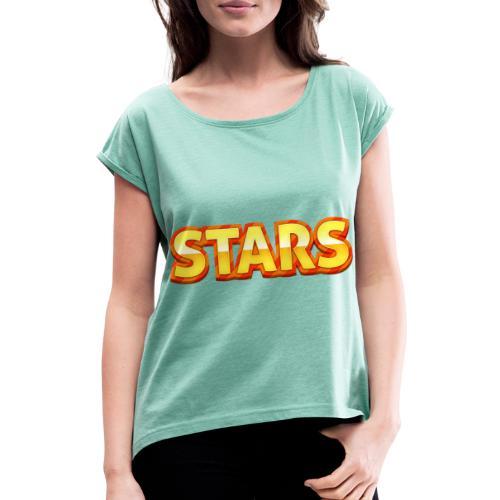Stars - T-shirt med upprullade ärmar dam