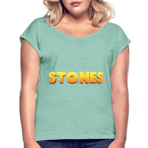 Stones - T-shirt med upprullade ärmar dam