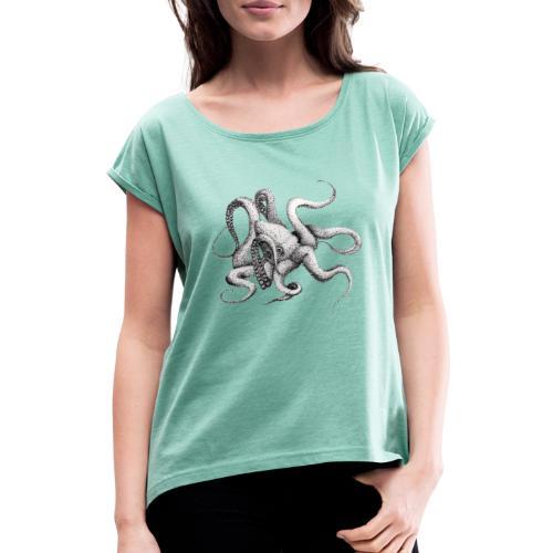 Kraken - Frauen T-Shirt mit gerollten Ärmeln