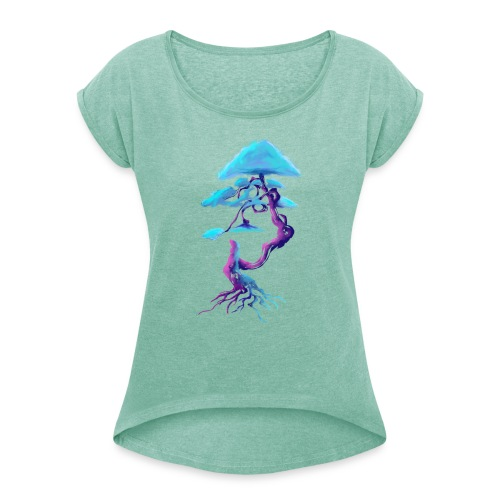 Tree design light blue and pink - Women's T-Shirt with rolled up sleeves