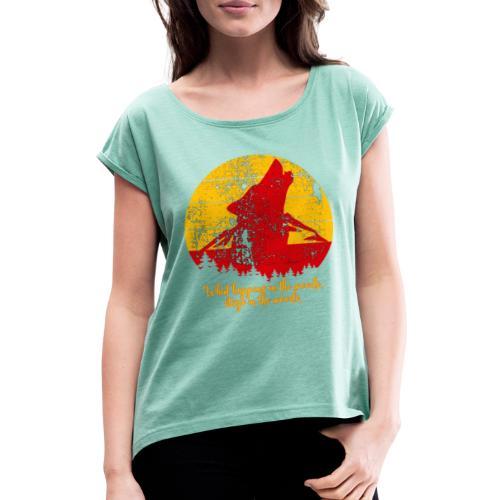 Wolf - Vrouwen T-shirt met opgerolde mouwen