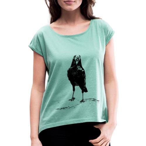 Krähe in Irland - Frauen T-Shirt mit gerollten Ärmeln