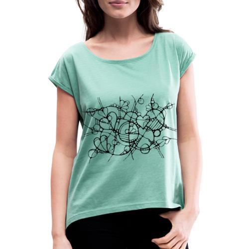 Abstrakte Kunst Neuro Art LOVE IS CRAZY 3 - Frauen T-Shirt mit gerollten Ärmeln