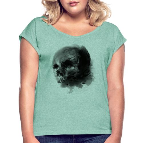 Diseño Shadow Skull Tattoo T-shirt Men And Women - Camiseta con manga enrollada mujer