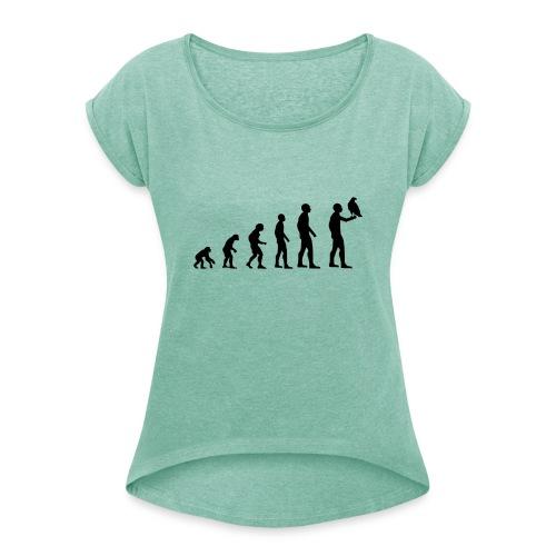 Evolution Falkner - Frauen T-Shirt mit gerollten Ärmeln