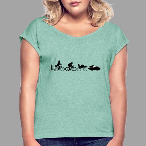 Bicycle evolution black Quattrovelo - Naisten T-paita, jossa rullatut hihat