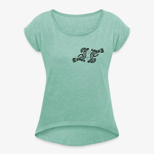 Phodoo - Frauen T-Shirt mit gerollten Ärmeln