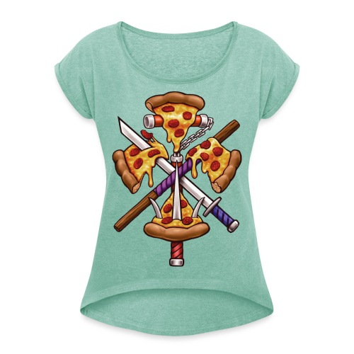 Ninja Pizza - Women's T-Shirt with rolled up sleeves