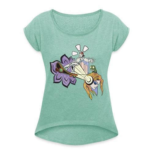 Spring Doodle - Vrouwen T-shirt met opgerolde mouwen
