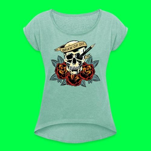 draw or die - T-shirt à manches retroussées Femme