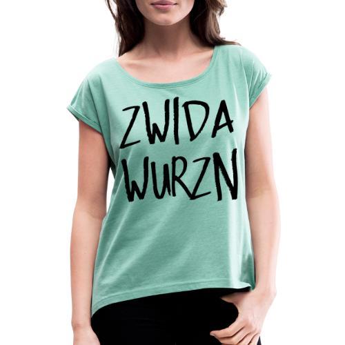 zwidawurzn - Frauen T-Shirt mit gerollten Ärmeln