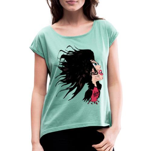 Catrina para chicas - Camiseta con manga enrollada mujer