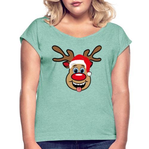Team Rudolph Rudi Reindeer - Frauen T-Shirt mit gerollten Ärmeln
