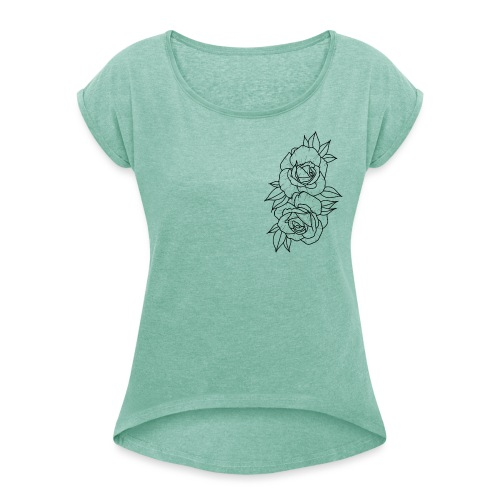 Wild roses - Women's T-Shirt with rolled up sleeves