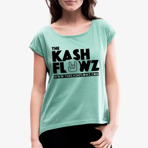 The Kash Flowz Official Web Site Black - T-shirt à manches retroussées Femme