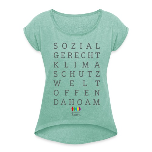 SLOGANS - Frauen T-Shirt mit gerollten Ärmeln