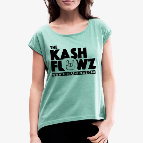 The Kash Flowz Official Web Site Black - T-shirt à manches retroussées Femme