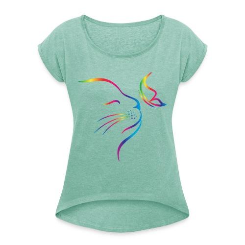 Vorschau: rainbow butterfly cat - Frauen T-Shirt mit gerollten Ärmeln