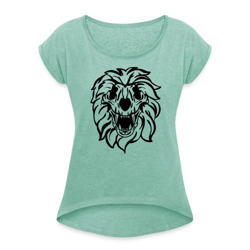 Skull Lion - Women's T-Shirt with rolled up sleeves