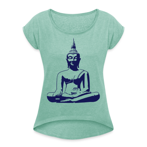 Boeddha beeld - Vrouwen T-shirt met opgerolde mouwen