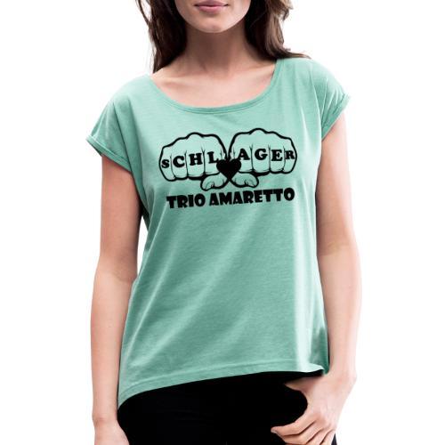 Black Print Trio Amaretto - Frauen T-Shirt mit gerollten Ärmeln
