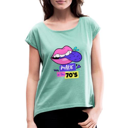 Années 70 - T-shirt à manches retroussées Femme