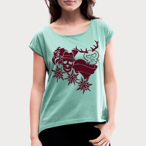 Tracht Old School - Frauen T-Shirt mit gerollten Ärmeln