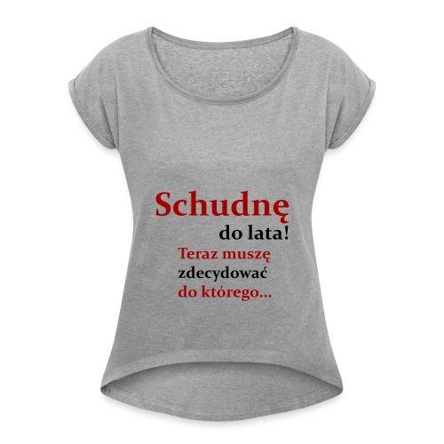 Fit - Koszulka damska z lekko podwiniętymi rękawami