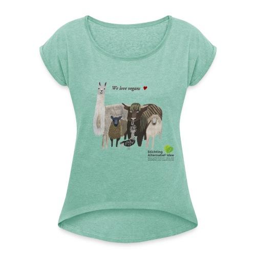 _1250534bcplus - Vrouwen T-shirt met opgerolde mouwen