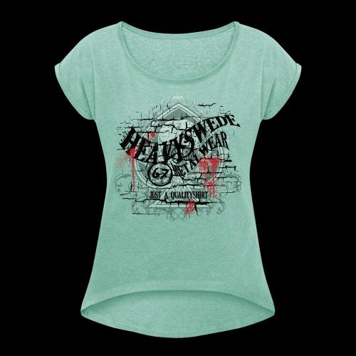 hs quality - T-shirt med upprullade ärmar dam