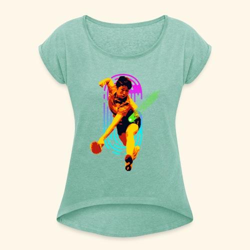 Best slashing serve table tennis champ - Frauen T-Shirt mit gerollten Ärmeln