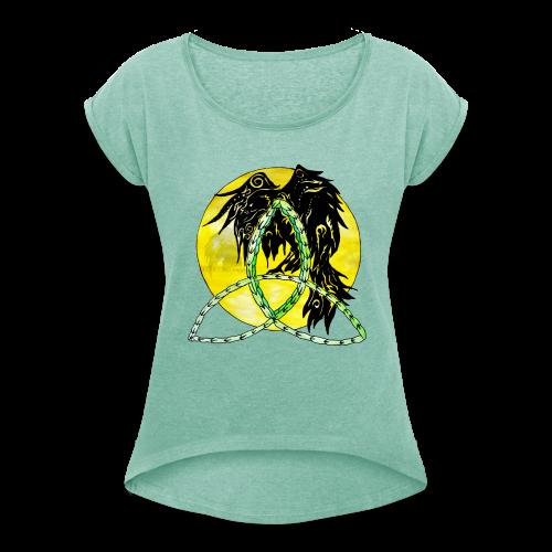 tribalrabe2 - Frauen T-Shirt mit gerollten Ärmeln