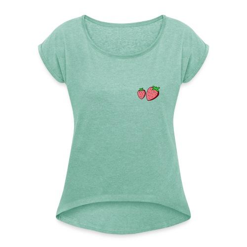 strawberry - Maglietta da donna con risvolti