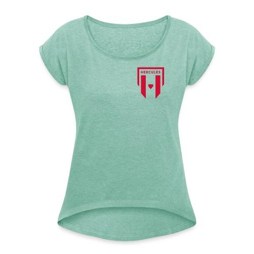 JS Hercules, new logo - Naisten T-paita, jossa rullatut hihat