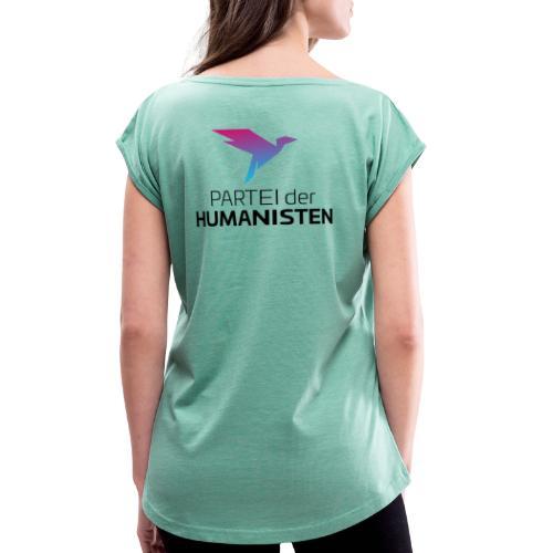 Statement Logo beidseitig - Frauen T-Shirt mit gerollten Ärmeln