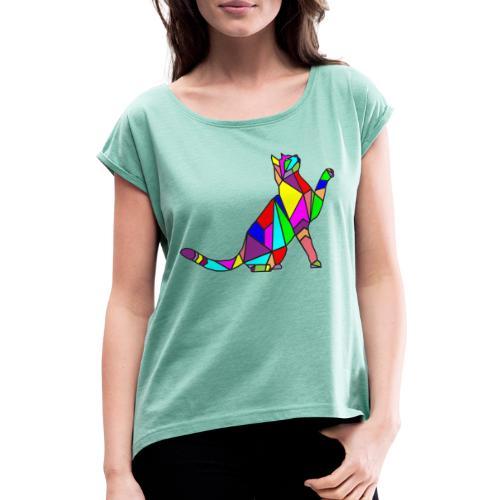 composizione di arte animale animale domestico colori gatto - Maglietta da donna con risvolti