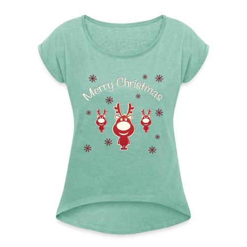 Koszulki Bożonarodzeniowe - Renifery - Koszulka damska z lekko podwiniętymi rękawami
