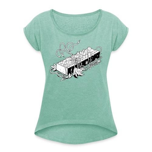 Modular Synthesizer - Black & White - Frauen T-Shirt mit gerollten Ärmeln