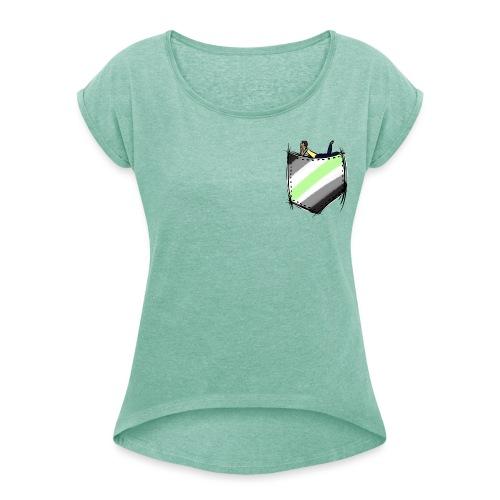 pocket agender flag - T-shirt à manches retroussées Femme