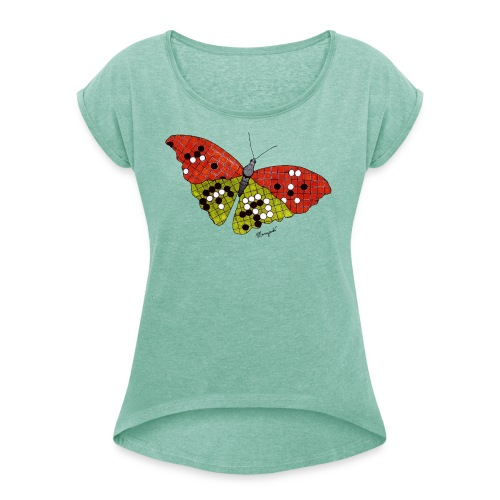 Go Butterfly full colour - Women's T-Shirt with rolled up sleeves