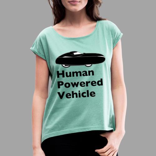 Quest Human Powered Vehicle 2 black - Naisten T-paita, jossa rullatut hihat