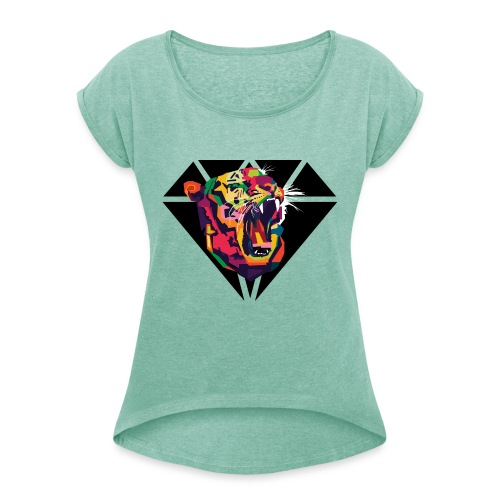 Tiger Hipster Design - Frauen T-Shirt mit gerollten Ärmeln
