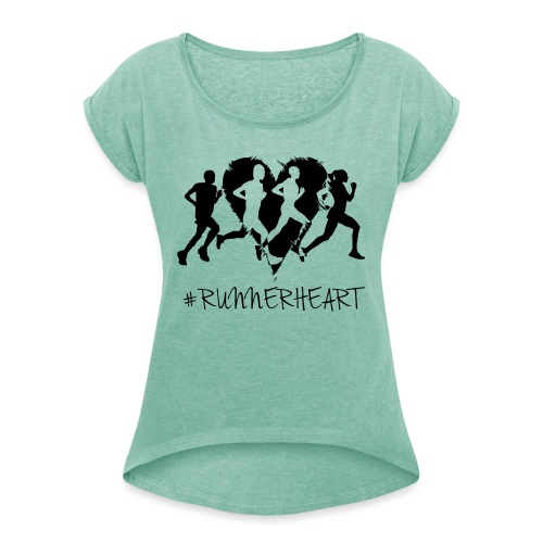#Runnerheart Group - Frauen T-Shirt mit gerollten Ärmeln